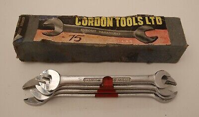 Vintage Gordon Tools Imperial Open Spanner Set in Box