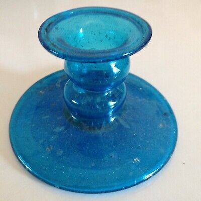 Blue glass candlestick - bubbly and lovely in great condition.
