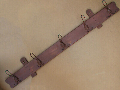 Old Antique Primitive Wooden Wood Rack Wall Hanger Door Coat Hooks Early 20th.