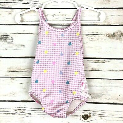 Vtg Liberty 80's Bathing Suit Size 18 Months Lace Bottom Gingham Hearts Pink