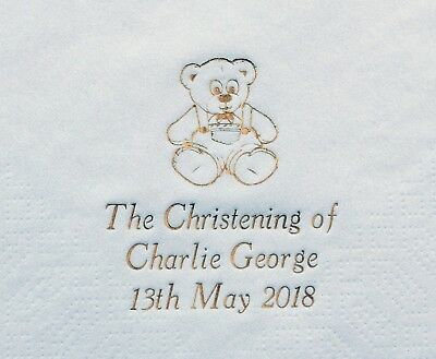 100 Personalised Christening/Baptism Napkins 33x33cm 2ply