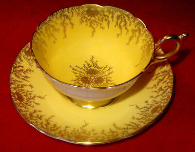 COALPORT CUP & SAUCER GOLD FLORAL FILIGREE on YELLOW MADE IN ENGLAND