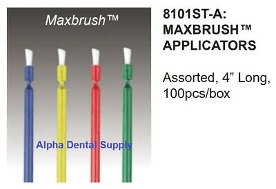 "Plasdent Maxbrush Dental Brush Applicators Disposable 4"" Multi Purpose Box/100"