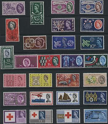 1953-70, Qe11 Complete Collection Of All 62 Gb Commemorative Stamp Sets, Mnh