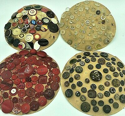 Antique Metal Bakelite Glass Sewing Button Card Lot