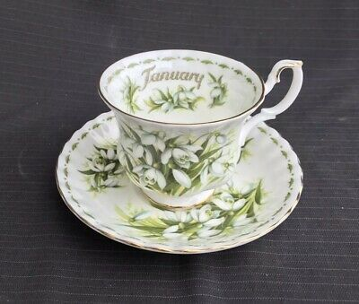 Royal Albert - Flower Of The Month - Tea Cup & Saucer - Snowdrops - 1st Quality