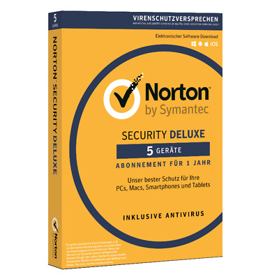 Norton Security Deluxe 2019 5 Devices 1 Year Download Immediate Shipping