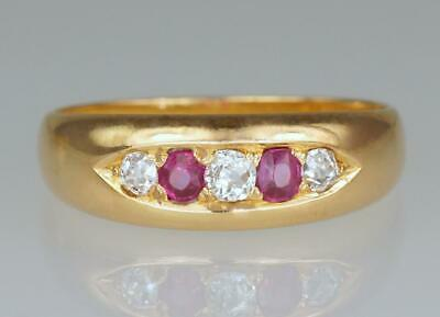 Antique 18ct Gold Ruby & Old Cut Diamond Gypsy Ring Victorian Hallmarked 1884
