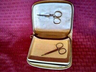 Vtg Belding Corticelli Hard Shell Sewing Case Small Kit Scissors