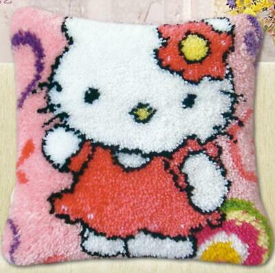 """Latch Hook Pillow embroidery needle craft cushion """"Hello Kitty"""" 4"""