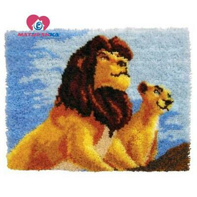 """Patchwork Latch hook rug kits Needle work thread embroidery """"Lion King""""52x38cm"""