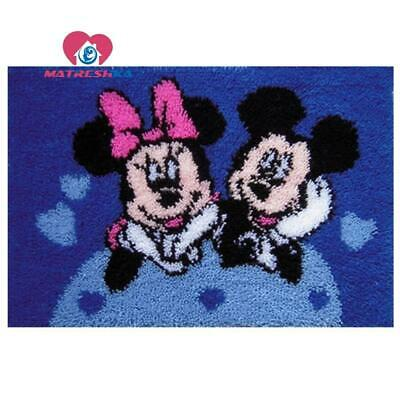 """Patchwork Latch hook rug kits Needle work thread embroidery """"Mickey and Minne..."""