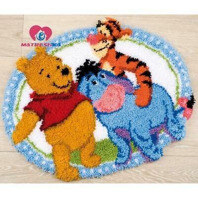 """Patchwork Latch hook rug kits Needle work thread embroidery """"Winnie the Poo""""5..."""