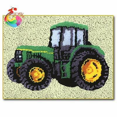 """Patchwork Latch hook rug kits Needle work thread embroidery """"Tractor""""52x38cm"""