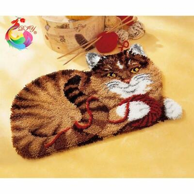 """Patchwork Latch hook rug kits Needle work thread embroidery """"Cat"""" 52x38cm"""