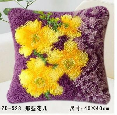 """Latch Hook Pillow embroidery needle craft cushion """"Yellow Flowers"""""""