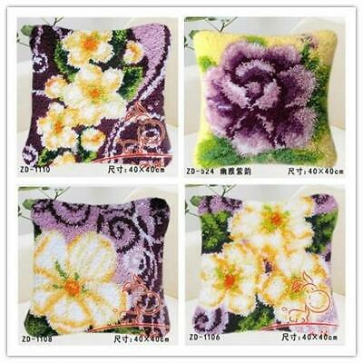"""Latch Hook Pillow embroidery needle craft cushion """"Flowers"""""""