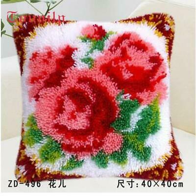 """Latch Hook Pillow embroidery needle craft cushion """"Roses"""""""