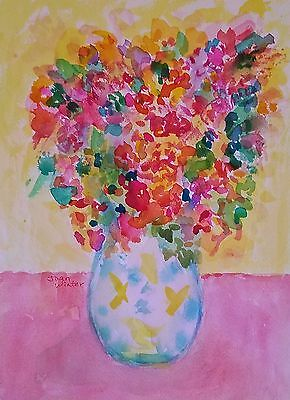 """Free Shipping Painting original art Big Bouquet of Flowers 12x9"""" watercolor - JW"""