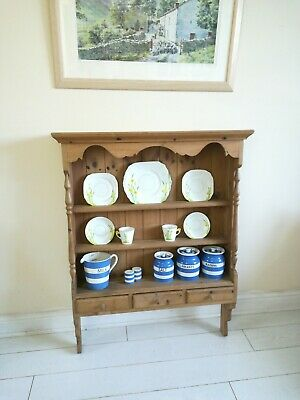 Large Antique Pine Kitchen Wall Plate Rack Wall Shelves 3 drawers Farmhouse