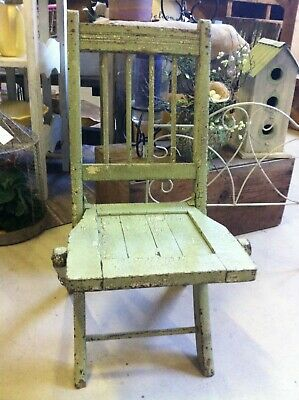 Vintage Antique Wooden Folding Chair Children Kids Green Distressed