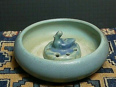 Signed & Dated 1905 Van Briggle Low Flower Bowl And Duck Flower Frog Blue Matte