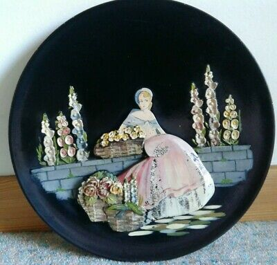 Vintage Art Deco 1930'S Crinoline Lady With Barbola Flowers  Wooden Wall Plaque