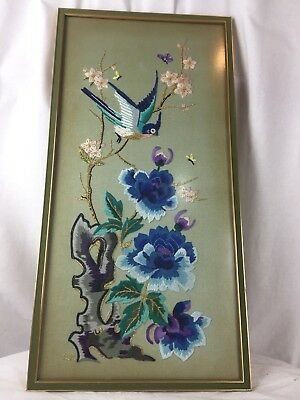 Beautiful Chinese Style Vintage Embroidery Framed Panels Hand Stitched Art