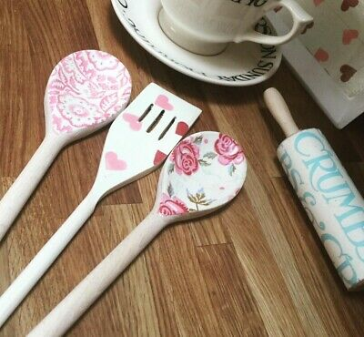 Emma Bridgewater Themed Set Of 3 Utensils - Hearts, Rose & Bee & Wallpaper