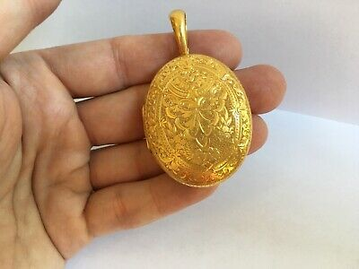 Antique Large 18k Yellow Gold Engraved Etched Dual Victorian Locket Pendant MINT
