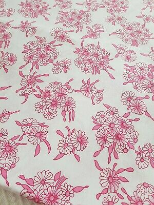 Vintage retro pink white pretty floral double flat sheet vw camping 50s 60s