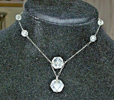 Art Deco Sterling Silver Cut Crystal Beaded Choker Necklace