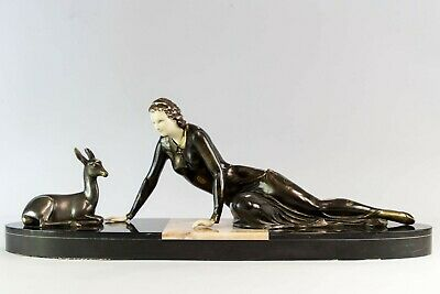 1930 CHRYSELEPHANTINE ART DECO SCULPTURE lady and deer by MENNEVILLE. SIGNED