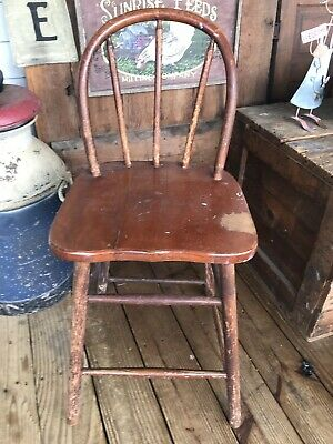 Vintage Childs Chair Wood Bow Back Chippy Rustic Decor