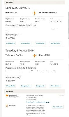 Easyjet Return Flights Liverpool To Venice 4 Seats. Will sell separately also