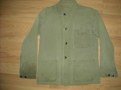 Vtg Wwii 36 N-3 Hbt Denim Jean Green Us Navy Usn Button Shirt Jacket