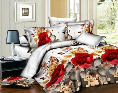 3D Effect Duvet Quilt Cover Bedding Sets with Pillow 2 Cases +  Fitted Sheet