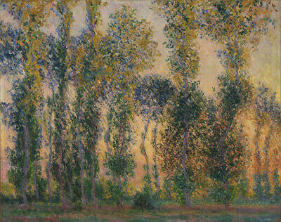 Art HD Print Oil Painting Claude Monet Poplars at Giverny, Sunrise Wall Decor