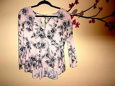 Women's Jrs American Rag Multi Color Floral Laced Back Adjust Waist Blouse Top S