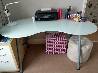 Ikea Galant Frosted Glass Top Kidney Shaped Desk