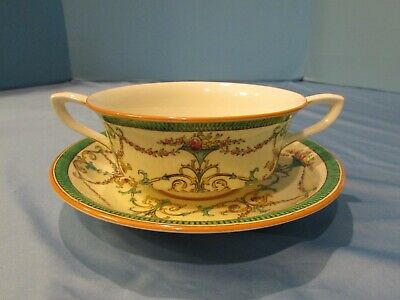 RARE ANTIQUE ROYAL WORCESTER - Bessborough - Green  Z715/1 Cream Soup Bowls 1915