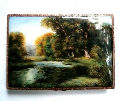 Antique 19th Century Hand Painted Guilloche Enamel Sterling Nature Scene Compact