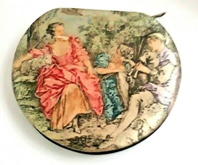 Vintage German Courting Scene Silk & Leather Powder Compact with Zipper. Unused.