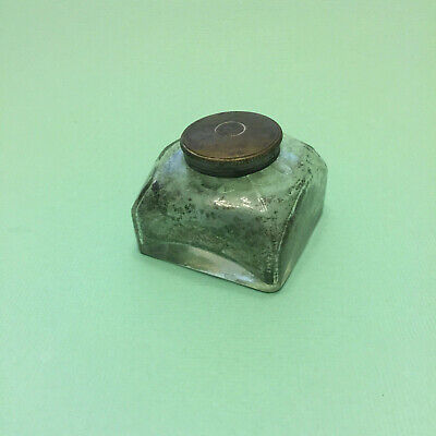 Brass Screw Top Lid Old Glass Inkwell Suit Antique Writing Slope Ink Bottle