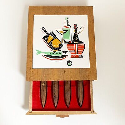 Vtg Mid Century Modern Wooden Cheese Tools Knife Board Square Tile Modernist Mod