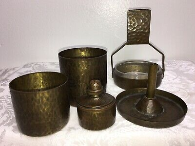 Antique Signed Roycroft 5 Pc. Mission Hammered Copper Cup Inkwell Tray Desk Set