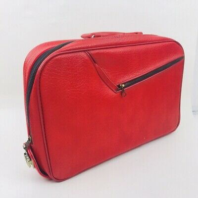Vintage 1960s A.D Sutton & sons luggage red Small With Key Carry On Travel Bag