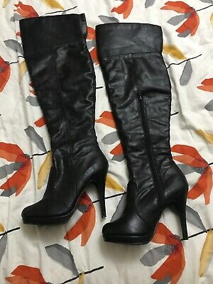 Dominatrix Mistress Black Over Knee Leather Boots Size 5 New Look Collection