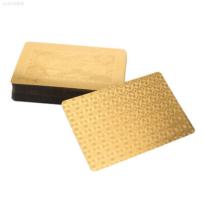 7AB2 1 Set/Lot 4K Carat Gold Foil Plated Poker Game Cards Table For Friends