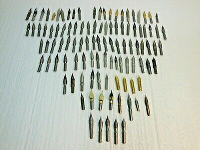Vtg Lot of 100+ Fountain Pen Calligraphy NIBS Spencerian Resterbrook Harrison ++